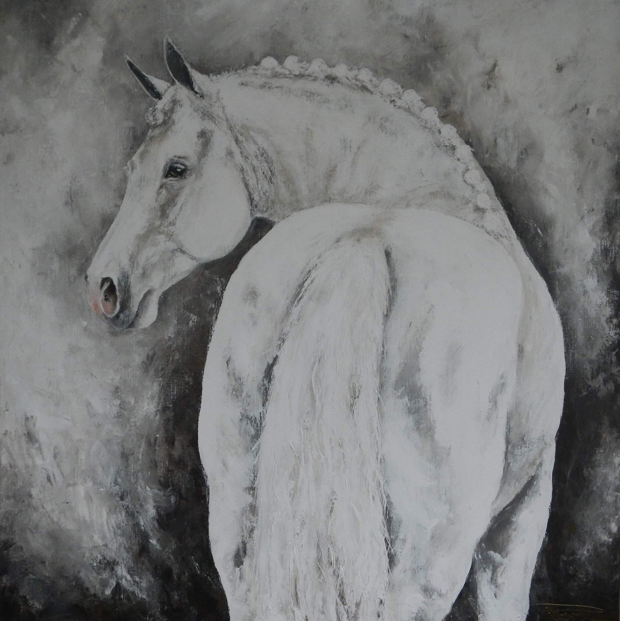 """Mega Star"" Hunting Horse 150 x 150 on commission"
