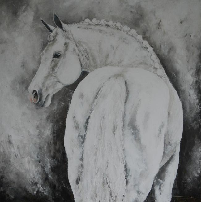 """Mega Star"" Hunting Horse 150 x 150 on commission Familie Vos"""