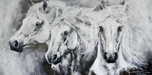 """White Horses and Golden Dreams"" 80×180 sold Netherlands"